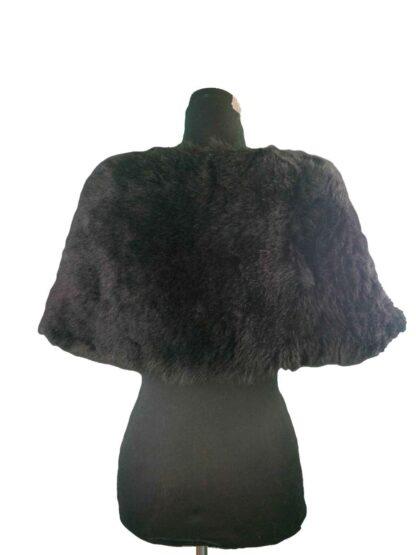 cache épaule en fausse fourrure noir a poil long, chauffe épaule en fausse fourrure à poil long