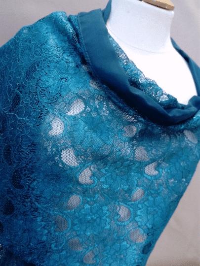 étole dentelle bleu canard