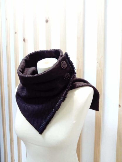 col snood faux col en laine Marron