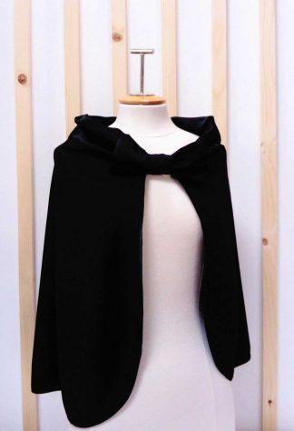 Capeline noir, cape de mariage, cape de marié, mariage hiver, a l'atelier de la couture