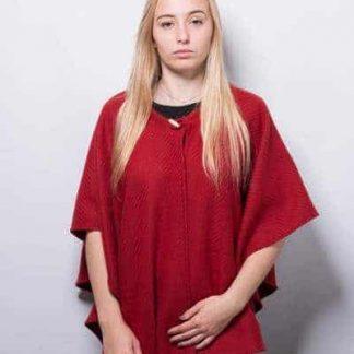Cape rouge en laine rouge souple