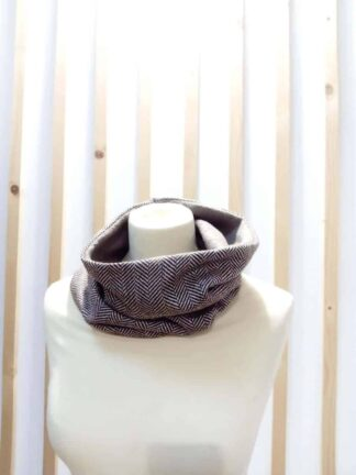 Snood réversible en tweed doublé polaire