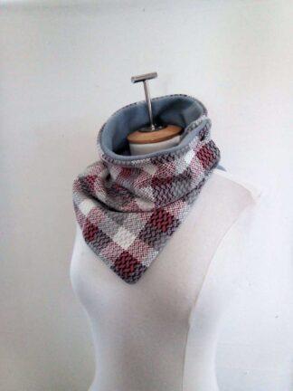 écharpe boutonné doublé en polaire gris perle