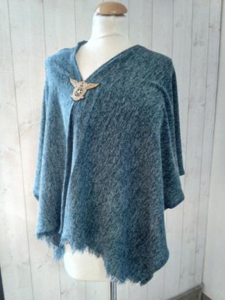 Poncho Femme Bleu en Lurex