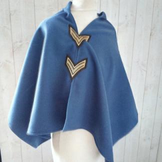Poncho Femme Caban Bleu