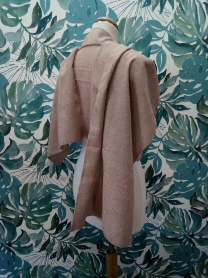 Grand châle Camel en étamine laine